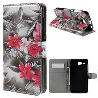 Nice koženkové pouzdro na mobil Acer Liquid Z520 - červené květy