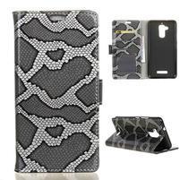Snake PU kožené pouzdro na Asus Zenfone 3 Max - šedé