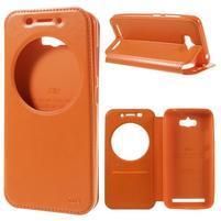 Luxusní pouzdro s okýnkem na mobil Asus Zenfone Max - oranžové