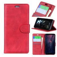 Wall PU kožené peněženkové pouzdro pro Honor 10 Lite a Huawei P Smart (2019) - červené