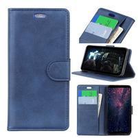 Wall PU kožené peněženkové pouzdro pro Honor 10 Lite a Huawei P Smart (2019) - modré