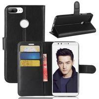 Wallet PU kožené zapínací pouzdro na Honor 9 Lite - černé