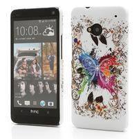 Plastový kryt na HTC One M7 -  barevní motýlci