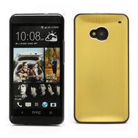 Broušený hliníkový plastový kryt na HTC One M7 - zlatý