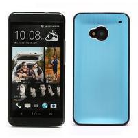 Broušený hliníkový plastový kryt na HTC One M7 - světle modrý
