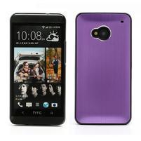 Broušený hliníkový plastový kryt na HTC One M7 - fialový