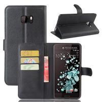 Wallet PU kožené zapínací pouzdro na HTC U Ultra - černé