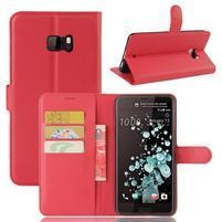 Wallet PU kožené zapínací pouzdro na HTC U Ultra - červené
