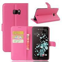 Wallet PU kožené zapínací pouzdro na HTC U Ultra - rose