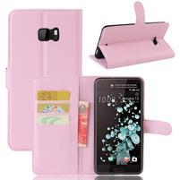 Wallet PU kožené zapínací pouzdro na HTC U Ultra - růžové