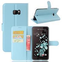 Wallet PU kožené zapínací pouzdro na HTC U Ultra - světlemodré