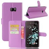 Wallet PU kožené zapínací pouzdro na HTC U Ultra - fialové