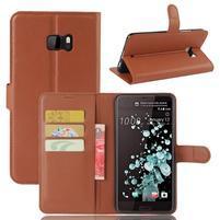 Wallet PU kožené zapínací pouzdro na HTC U Ultra - hnědé