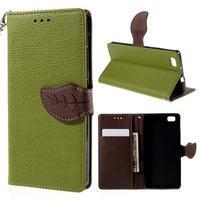 Zapínací PU kožené pouzdro na Huawei P8 Lite - zelené