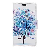 Emotive PU kožené pouzdro na Huawei Nova - modrý strom