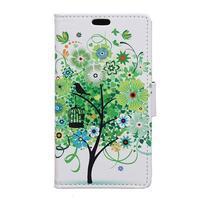 Emotive PU kožené pouzdro na Huawei Nova - zelený strom