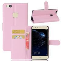 Leathy PU kožené pouzdro na mobil Huawei P10 Lite - růžové