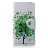Emotive PU kožené pouzdro na Huawei P20 - zelený strom