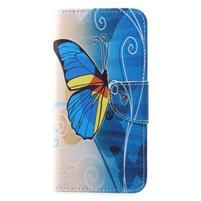 Emotive PU kožené pouzdro na Huawei P20 - modrý motýl