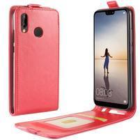 Flipové PU kožené pouzdro na Huawei P20 Lite - červené