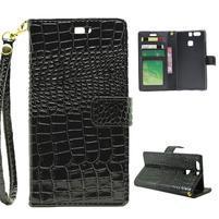 Croco peněženkové pouzdro na Huawei P9 - černé