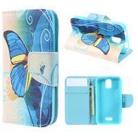 Peněženkové pouzdro na mobil Huawei Y3 a Y360 - modrý motýl