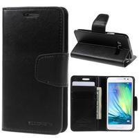 Černé PU kožené peněženkové pouzdro na Samsung Galaxy A3