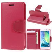 Rose PU kožené peněženkové pouzdro na Samsung Galaxy A3