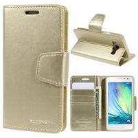 Zlaté PU kožené peněženkové pouzdro na Samsung Galaxy A3