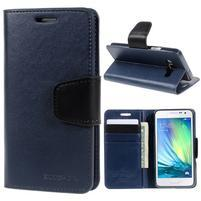 Tmavě modré PU kožené peněženkové pouzdro na Samsung Galaxy A3