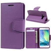Fialové PU kožené peněženkové pouzdro na Samsung Galaxy A3