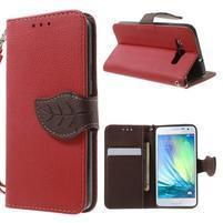 Červené/hnědé PU kožené pouzdro na Samsung Galaxy A3