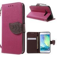 Rose/hnědé PU kožené pouzdro na Samsung Galaxy A3