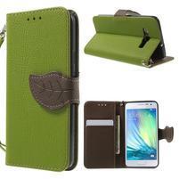 Zelené/hnědé PU kožené pouzdro na Samsung Galaxy A3