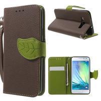 Hnědé/zelené PU kožené pouzdro na Samsung Galaxy A3