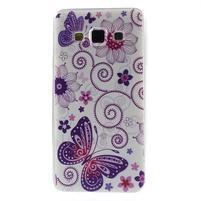 Gelový obal na Samsung Galaxy A3 - motýl a kruhy