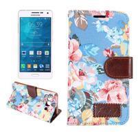 Květinové peněženkové pouzdro na Samsung Galaxy A5 - modré
