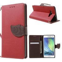 Červené/hnědé PU kožené pouzdro na Samsung Galaxy A5
