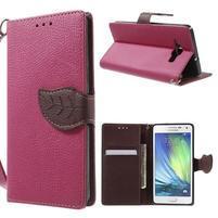 Rose/hnědé PU kožené pouzdro na Samsung Galaxy A5