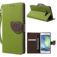 Zelené/hnědé PU kožené pouzdro na Samsung Galaxy A5
