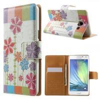Peněženkové zapínací pouzdro na Samsung Galaxy A5 - barevné květiny