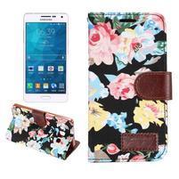 Květinové peněženkové pouzdro na Samsung Galaxy A5 - černé