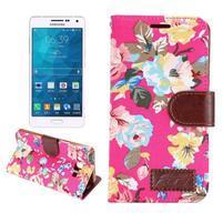 Květinové peněženkové pouzdro na Samsung Galaxy A5 - rose