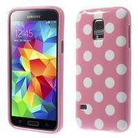 Růžový puntíkatý gelový obal na Samsung Galaxy S5 mini