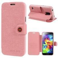 Růžové zapínací pouzdro na Samsung Galaxy S5 mini