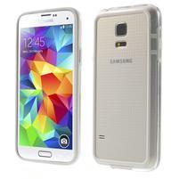 Bílý gelový kryt s plastovými lemy na Samsung Galaxy S5 mini
