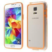 Oranžový gelový kryt s plastovými lemy na Samsung Galaxy S5 mini