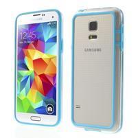 Světle modrý gelový kryt s plastovými lemy na Samsung Galaxy S5 mini
