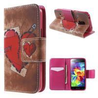 Zapínací peněženkové pouzdro na Samsung Galaxy S5 mini - srdce