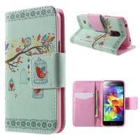Zapínací peněženkové pouzdro na Samsung Galaxy S5 mini - ptáček v klícce